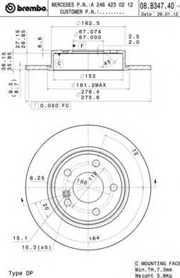 Томрозной диск 08B34740 brembo