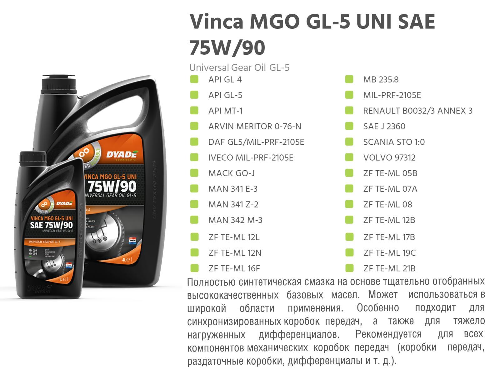 Масло трансмиссионное Vinca MGO GL-4/5 UNI SAE 75W90 (1L) 085748 dyadelubricants