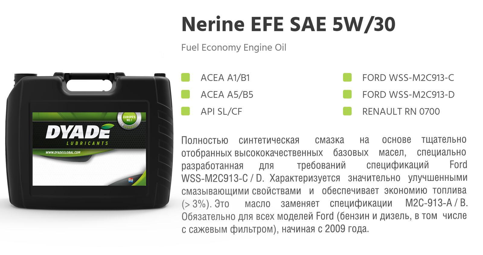 Масло моторное Nerine EFE SAE 5W30 (20L) 574150 dyadelubricants