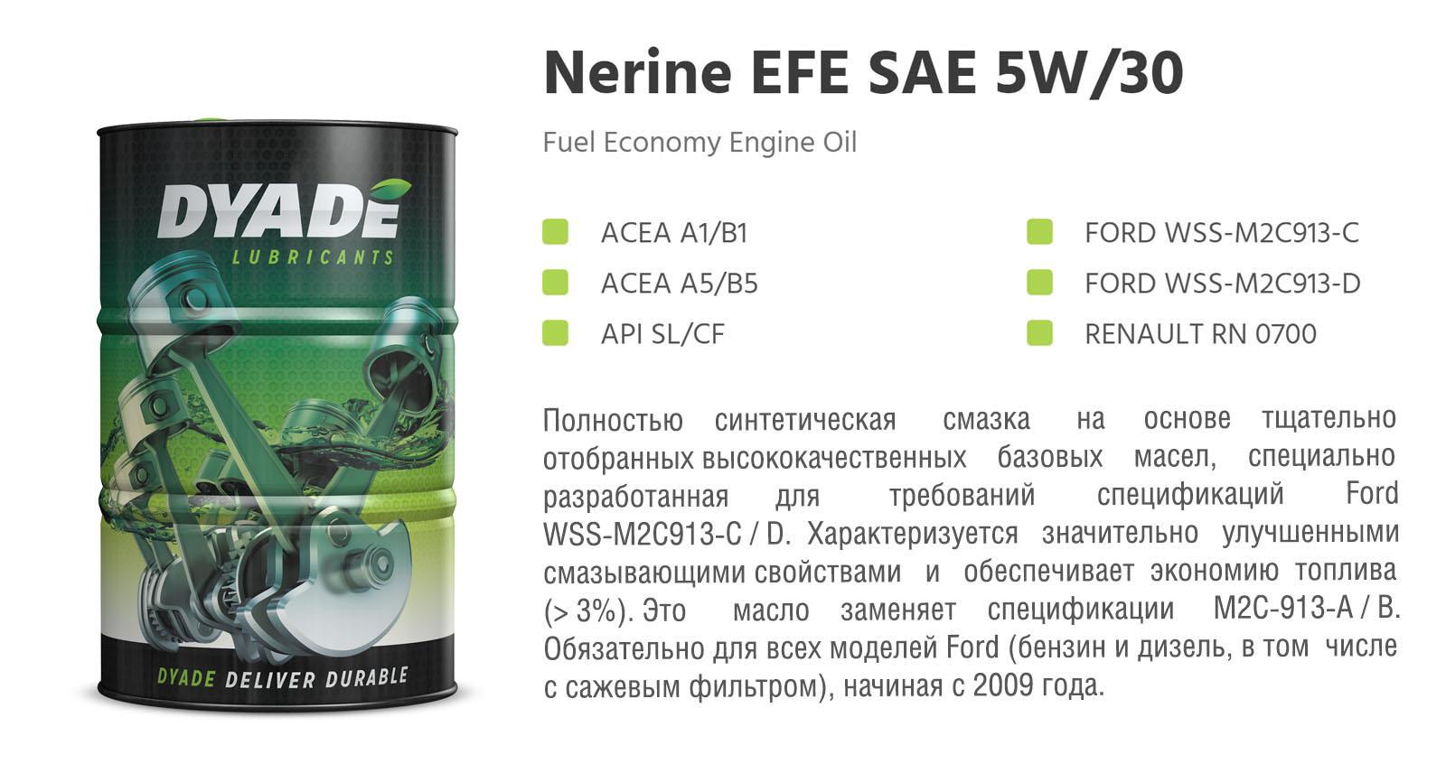 Масло моторное Nerine EFE SAE 5W30 (60L) 574167 dyadelubricants