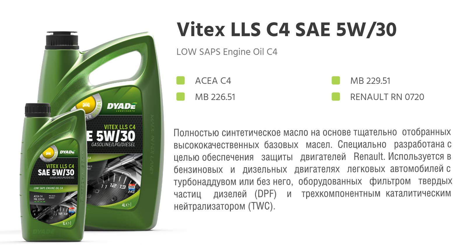 Масло моторное Vitex LLS C4 SAE 5W30 RN0720 (1L) 574969 dyadelubricants