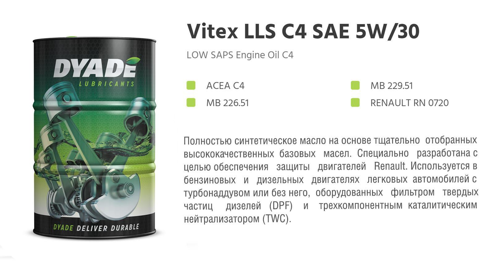 Масло моторное Vitex LLS C4 SAE 5W30 RN0720 (60L) 575003 dyadelubricants