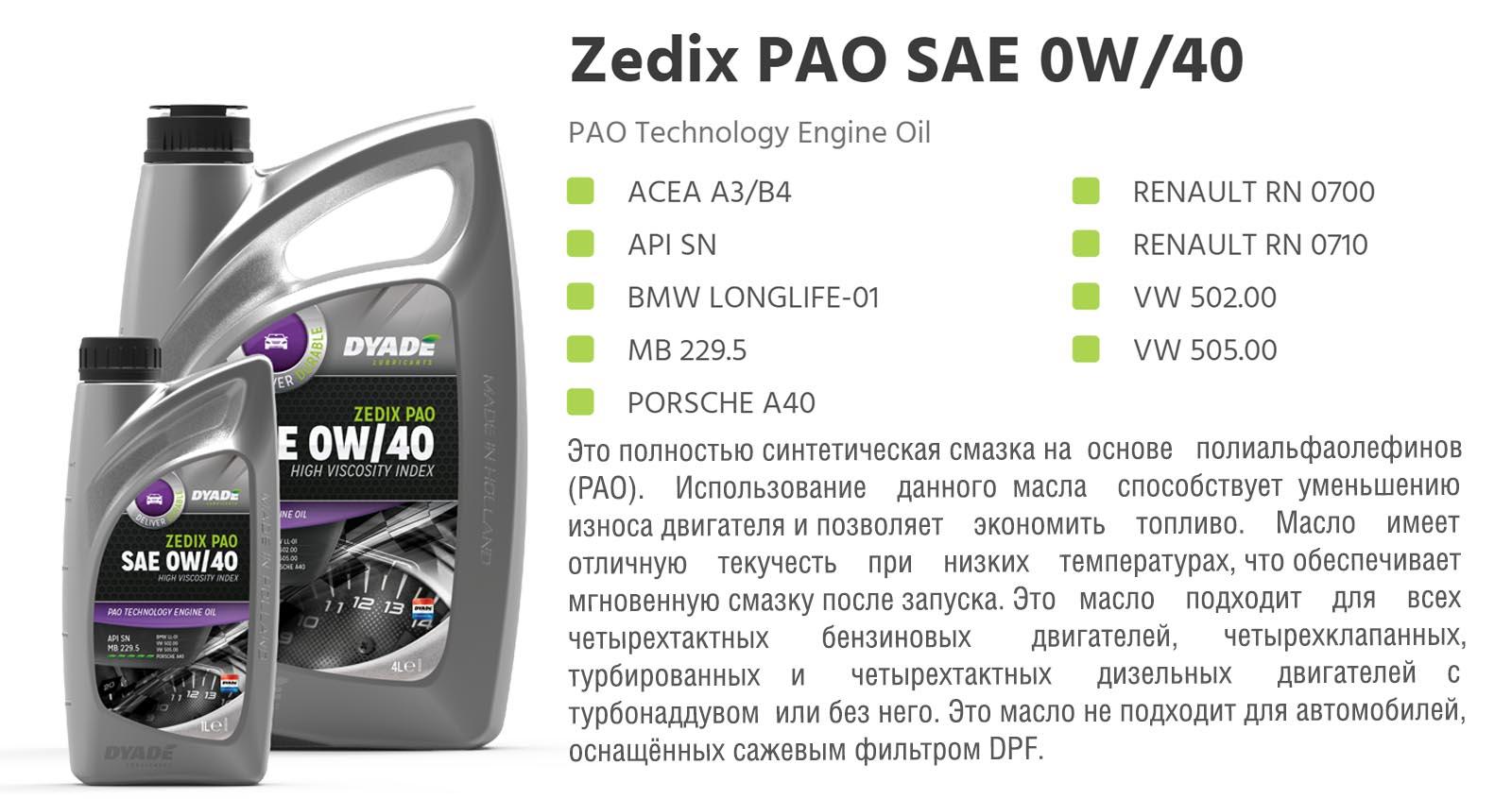 Масло моторное Zedix PAO SAE 0W40 (5L) 575478 dyadelubricants