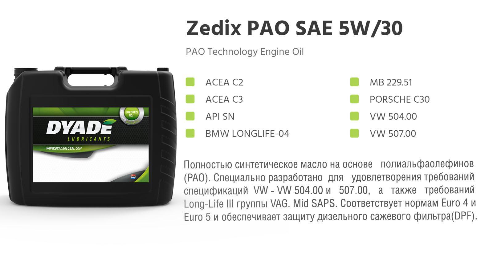 Масло моторное Zedix PAO SAE 5W30 (20L) 575553 dyadelubricants