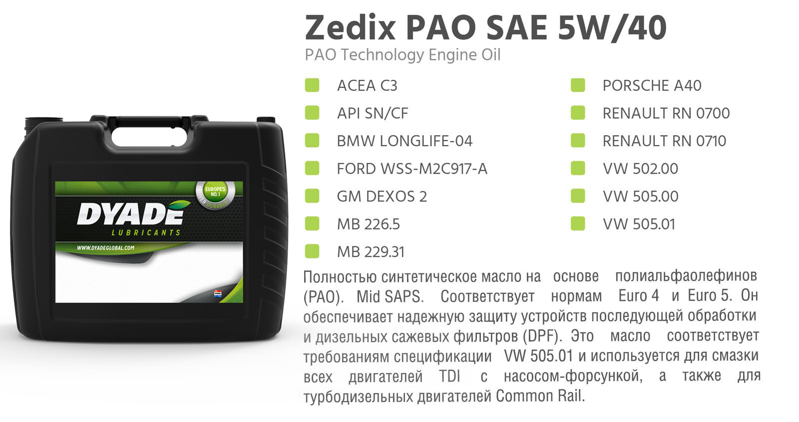 Масло моторное Zedix PAO SAE 5W40 (20L) 575621 dyadelubricants