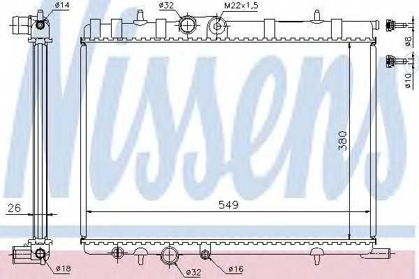 Радиатор системы охлаждения двигателя NRF 58308 63502 nissens